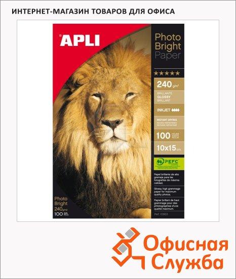 фото: Фотобумага для струйных принтеров Apli А6 240 г/м2, глянцевая, 100 листов