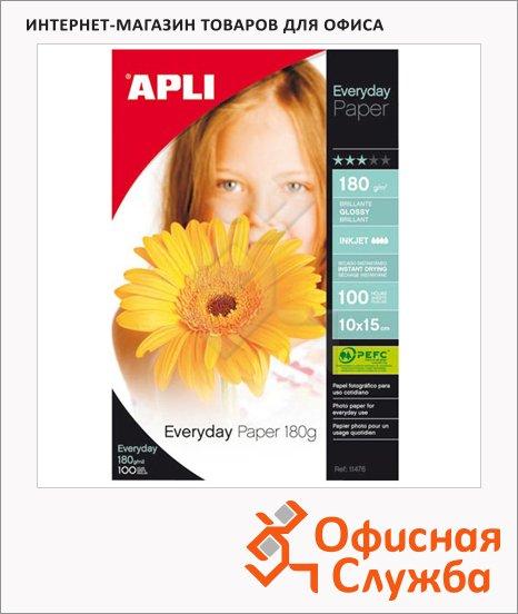Фотобумага для струйных принтеров Apli А6, 180 г/м2, глянцевая, 100 листов, 11476
