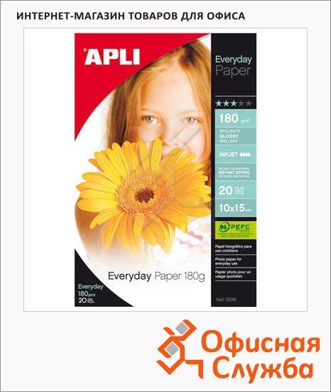 фото: Фотобумага для струйных принтеров Apli А6 180 г/м2, глянцевая, 20 листов