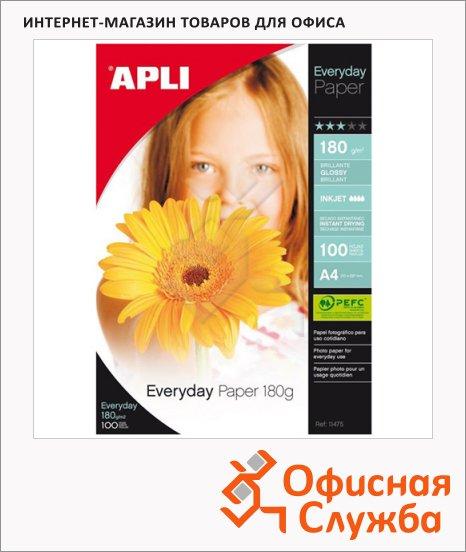 фото: Фотобумага для струйных принтеров Apli А4 100 листов, 180г/м2, глянцевая