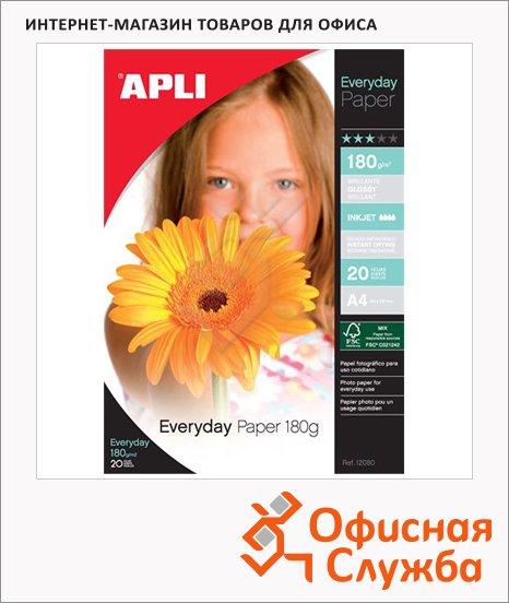 Фотобумага для струйных принтеров Apli А4, 180г/м2, глянцевая, 20 листов