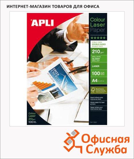 фото: Фотобумага для лазерных принтеров Apli А4 100 листов, 210 г/м2, глянцевая