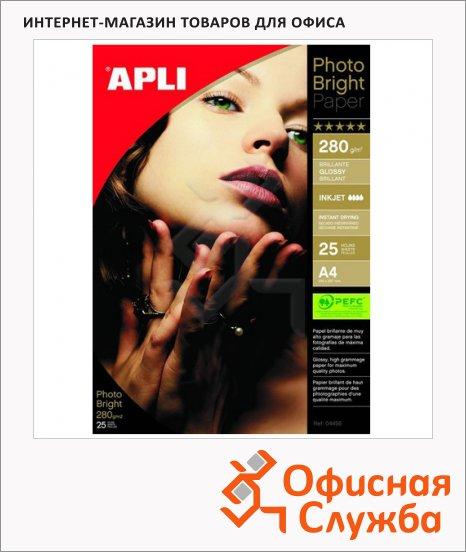 Фотобумага для струйных принтеров Apli А4, 25 листов, 280г/м2, глянцевая