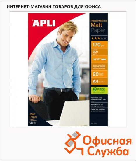 фото: Фотобумага для струйных принтеров Apli А4 20 листов, 170 г/м2, матовая, двусторонняя