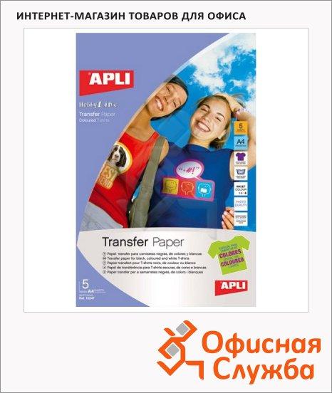 фото: Фотобумага для струйных принтеров Apli А5 5 листов, для нанесения на ткань, 11165