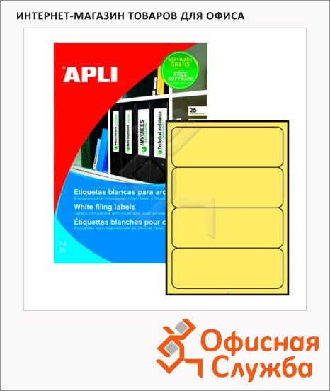 фото: Этикетки для папок Apli 1374 190х61мм, 80шт, желтые