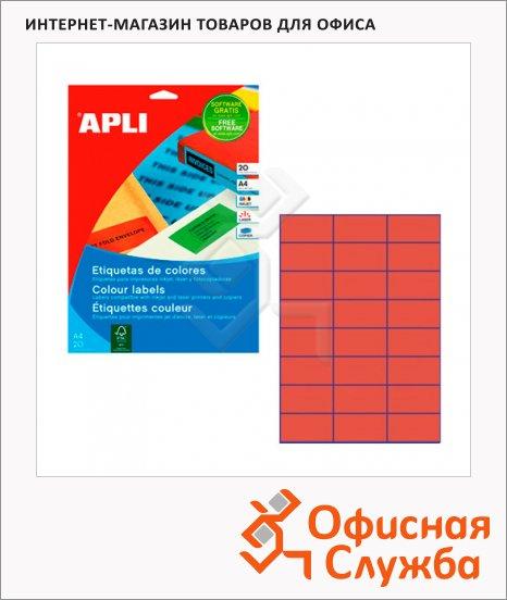 Этикетки цветные Apli 1593, 70x37мм, 480шт, красные