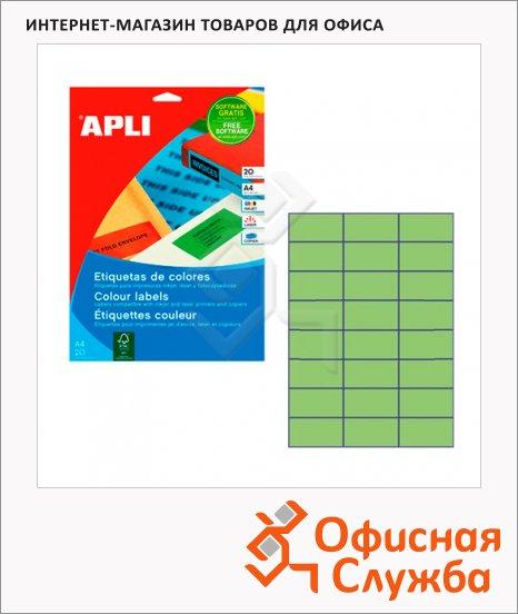 фото: Этикетки цветные Apli 1594 70x37мм, 480шт, зеленые
