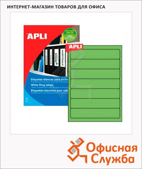 Этикетки для папок Apli 1373, 190х38мм, 140шт, зеленые