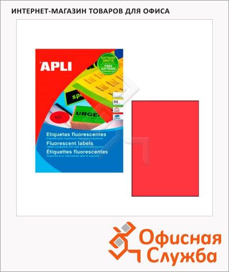 фото: Этикетки цветные Apli 11749 210х297мм, 100шт, красные флюорисцентные