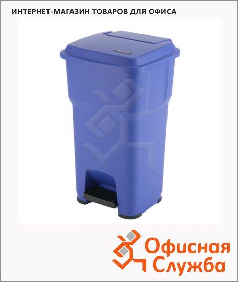 Контейнер для мусора Vileda Pro Гера 60л, с педалью и крышкой, синий, 137753