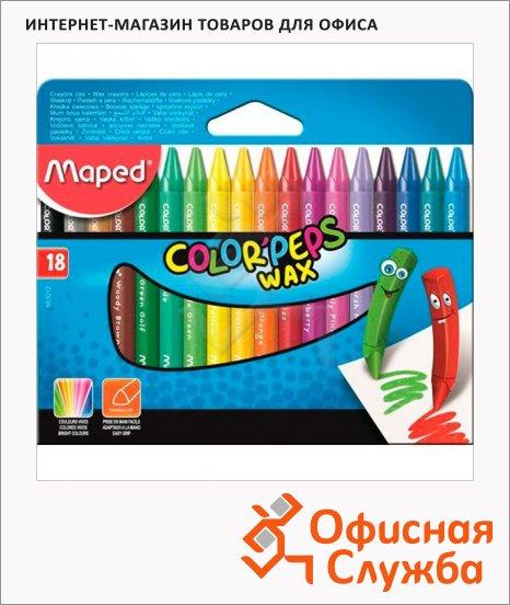 фото: Набор восковых карандашей Maped Color'Peps Wax 18 цветов трехгранные
