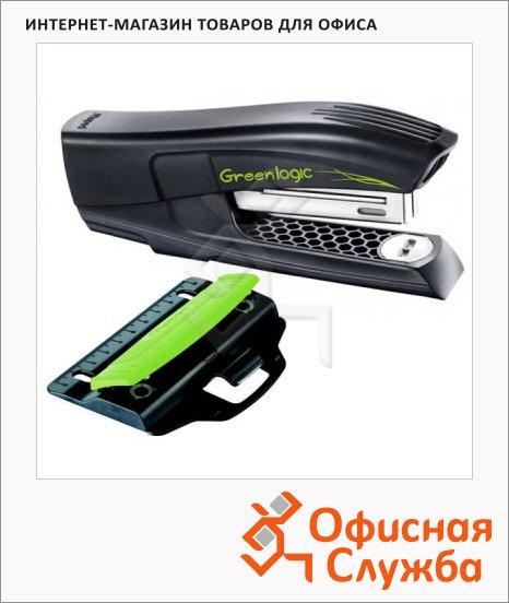 фото: Набор мини-степлер + дырокол Greenlogic №24/6 26/6, черный