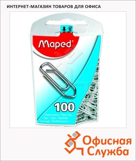 Скрепки канцелярские Maped 25 мм, стрелка, никелированные, 100шт/уп