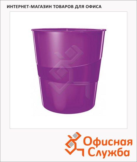 фото: Корзина для бумаг Leitz WOW 15л с держателем, фиолетовая, 52781062