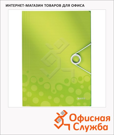 фото: Пластиковая папка на резинке Leitz Wow зеленая A4, до 150 листов, 45990064