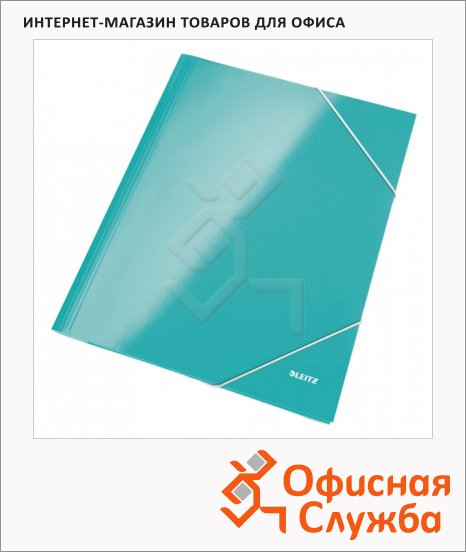 фото: Картонная папка на резинке Leitz Wow бирюзовая А4, до 250 листов, 39820051
