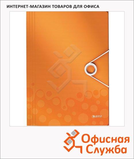 Пластиковая папка на резинке Leitz Wow оранжевая, A4, до 150 листов, 45990044
