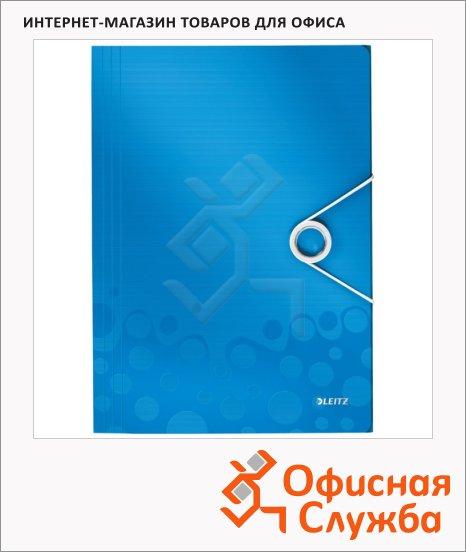 фото: Пластиковая папка на резинке Leitz Wow синяя A4, до 150 листов, 45990036