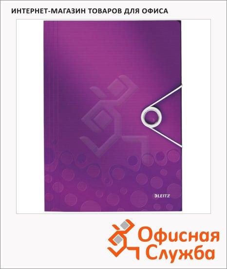 Пластиковая папка на резинке Leitz Wow фиолетовая, A4, до 150 листов, 45990062
