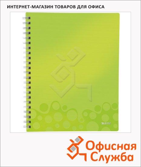 Блокнот Leitz Wow зелёный, А4, 80 листов, в клетку, на спирали, пластик, с разделителями, микроперфорация, 46430064