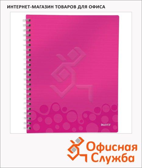 Блокнот Leitz Wow розовый, А4, 80 листов, в клетку, на спирали, пластик, с разделителями, микроперфорация, 46430023