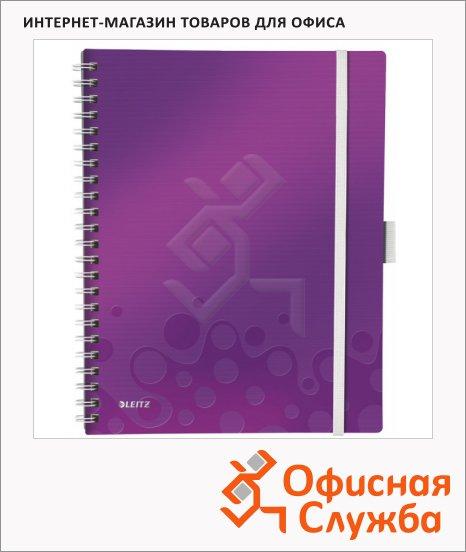 фото: Блокнот Leitz Wow фиолетовый А4, 80 листов, в клетку, на спирали, пластик, с папкой, с разделителями, микроперфорация, 46450062