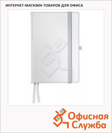 фото: Блокнот Leitz Style белая сталь А5, 80 листов, в клетку, на сшивке, с резинкой, твердая обложка, 44860004