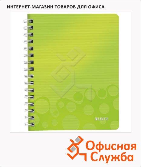 фото: Тетрадь общая Leitz Wow зеленая А4, 80 листов, в клетку, на спирали, пластик, 46380064