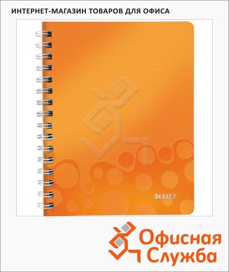 Тетрадь общая Leitz Wow оранжевая, А4, 80 листов, в клетку, на спирали, пластик, 46380044