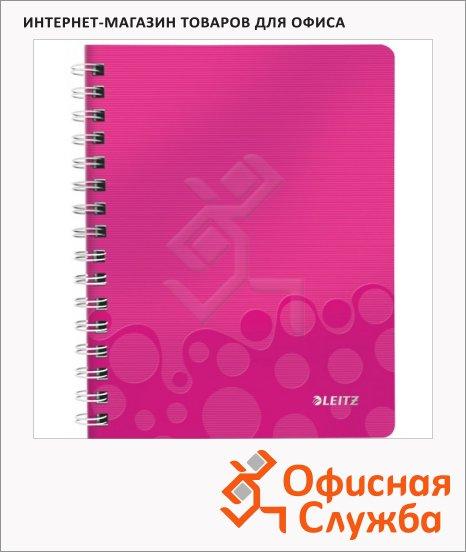 Тетрадь общая Leitz Wow розовая, А4, 80 листов, в клетку, на спирали, пластик, 46380023
