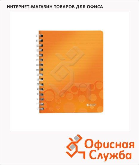 Тетрадь общая Leitz Wow оранжевая, А5, 80 листов, в клетку, на спирали, пластик