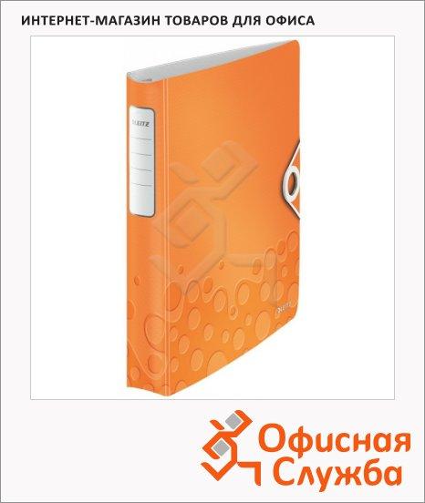 Папка на 4-х кольцах А4 Leitz Active Wow оранжевая, 50 мм, 42400044