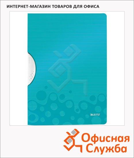 Пластиковая папка с клипом Leitz Wow бирюзовая, А4, до 30 листов, 41850051