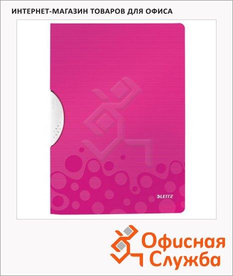 Пластиковая папка с клипом Leitz Wow розовая, А4, до 30 листов, 41850023
