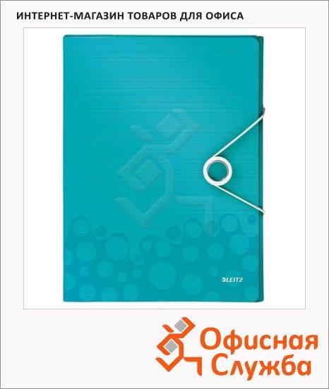фото: Пластиковая папка на резинке Leitz Wow бирюзовый A4, до 250 листов, 46290051