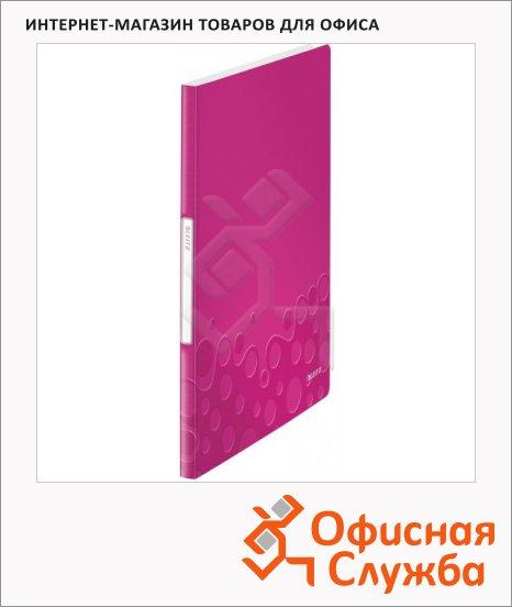 Папка файловая Leitz Wow розовая, А4, на 40 файлов, 46320023