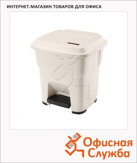 Контейнер для мусора Vileda Professional Гера бежевый, с педалью и крышкой, 137682
