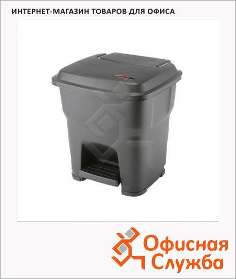 Контейнер для мусора Vileda Pro Гера 35л, с педалью и крышкой, черный, 137749