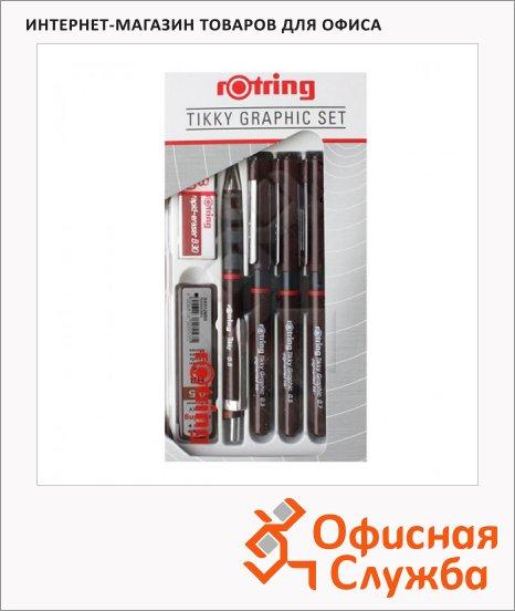 фото: Набор ручек для черчения Rotring Tikky Grafic черные 0.3/0.5/0.7мм, 6 предметов