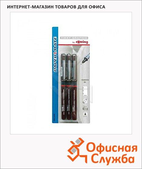 фото: Набор ручек для черчения Rotring Tikky Graphic черные 3 предмета, 0.2/0.4/0.8мм, мягкий пенал