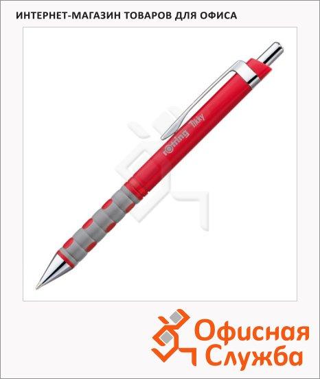 фото: Ручка шариковая автоматическая Rotring Tikky синяя 0.5мм, красный корпус