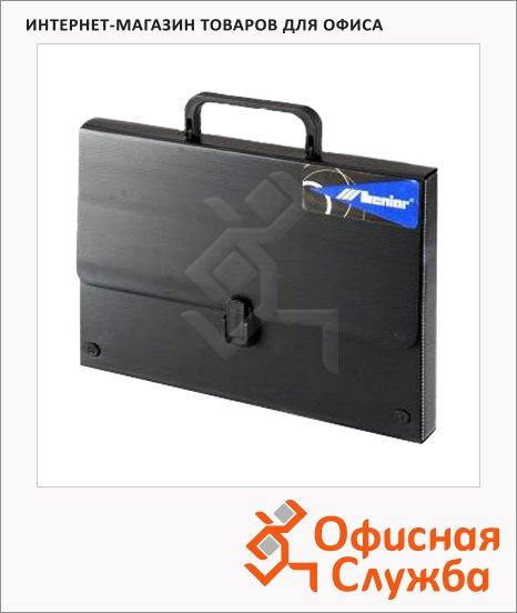 Портфель пластиковый Leniar черный, без отделений, А2