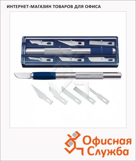 фото: Нож-скальпель канцелярский Leniar 6 сменных лезвий синий металлик