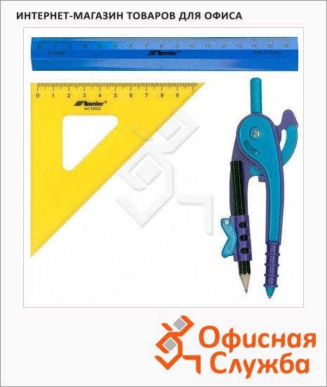 Набор чертежный Leniar 3 предмета, циркуль, угольник 10см, линейка 17см 10033
