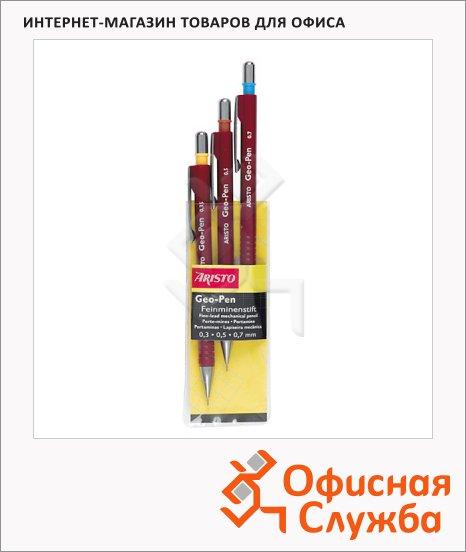 Набор карандашей механических Aristo Geo-Pen 0.3мм, 0.5мм, 0.7мм, бордовый корпус, 3шт