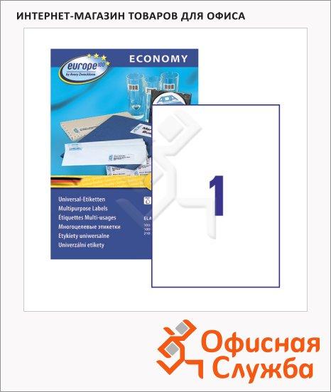 фото: Этикетки самоклеящиеся Avery Zweckform Европа-100 ELA027 белые, 210х297мм, 1шт на листе А4, 100 листов