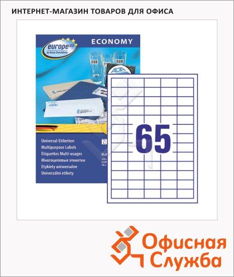 фото: Этикетки самоклеящиеся Avery Zweckform Европа-100 ELA001 белый, 38x21.2мм, 65шт на листе А4, 100 листов