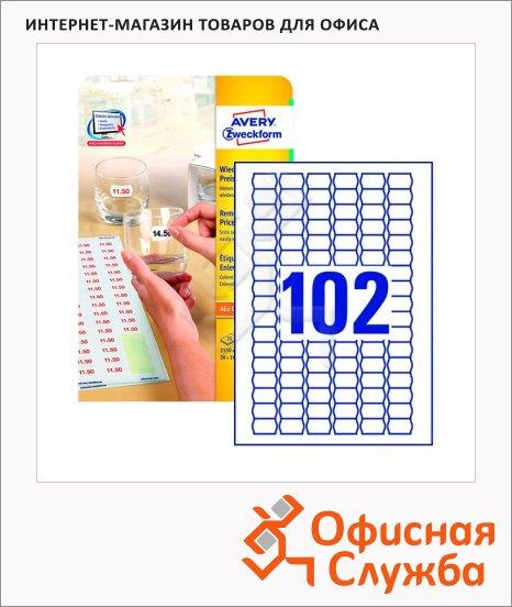 Этикетки для ценников Avery Zweckform удаляемые L3410REV-25, белые, 26x16мм, 102шт на листе А4, 25 листов, 2550шт, для струйной лазерной печати