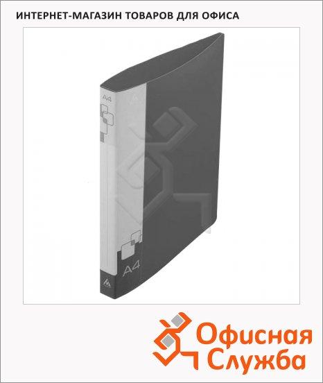 Папка на 4-х кольцах А4 Бюрократ черная, 27 мм, 0827/4Rblck